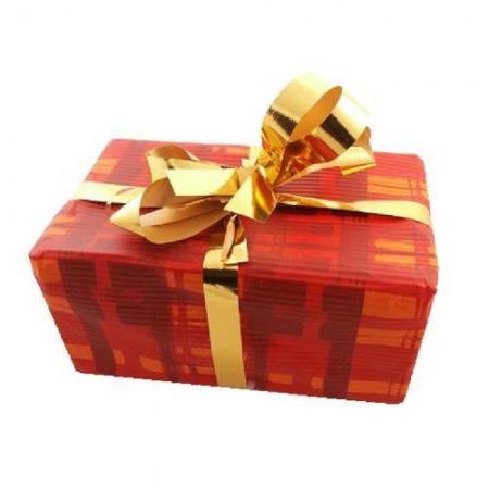 Verpackung für ein Geschenk mit einem Band (eine für Produkt oder für Gruppe von Produkten)